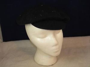 Vintage Men's Black Wool Cap Hat with Visor