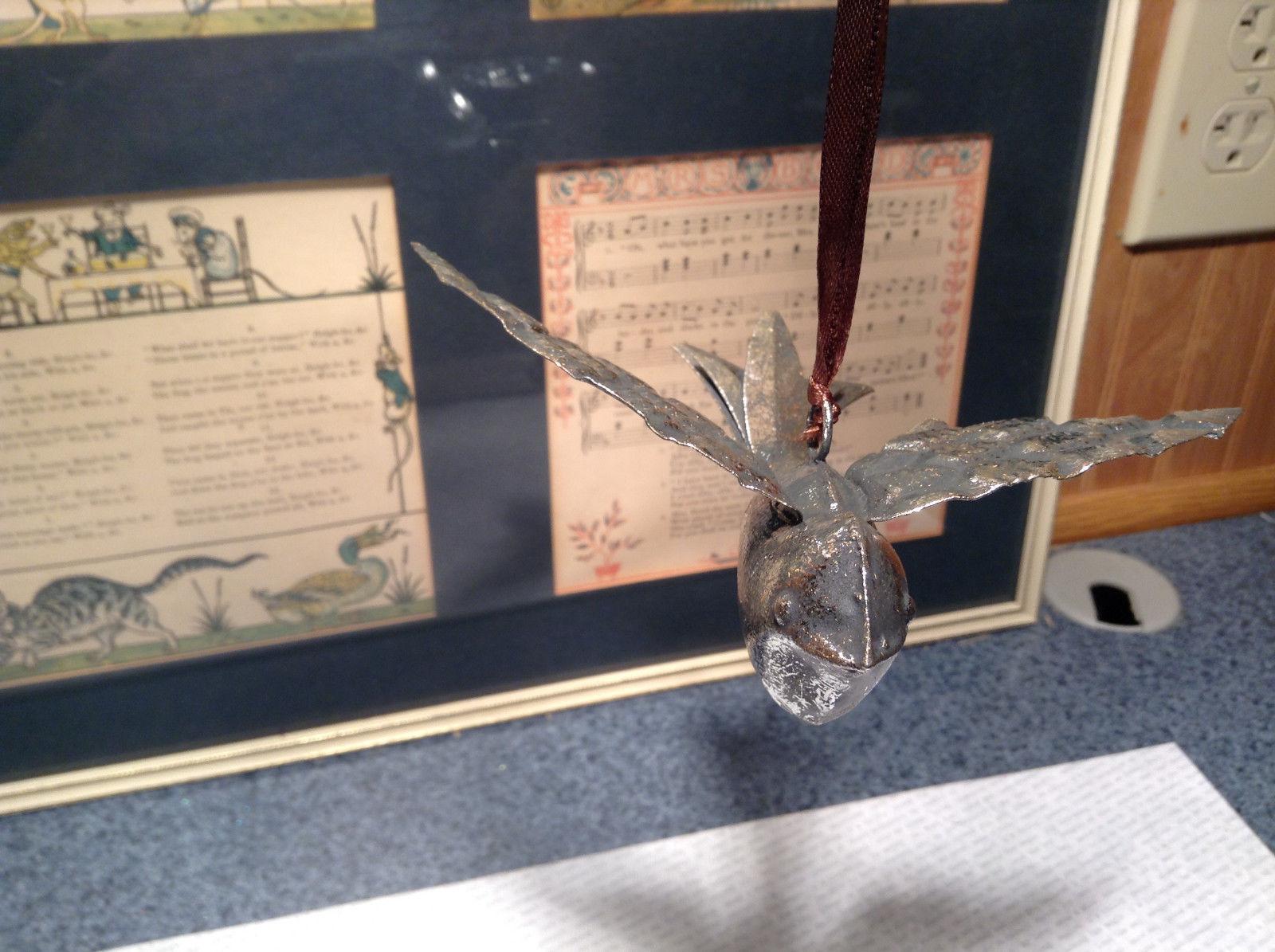 Vintage Look Silver Tone Bird Ornament
