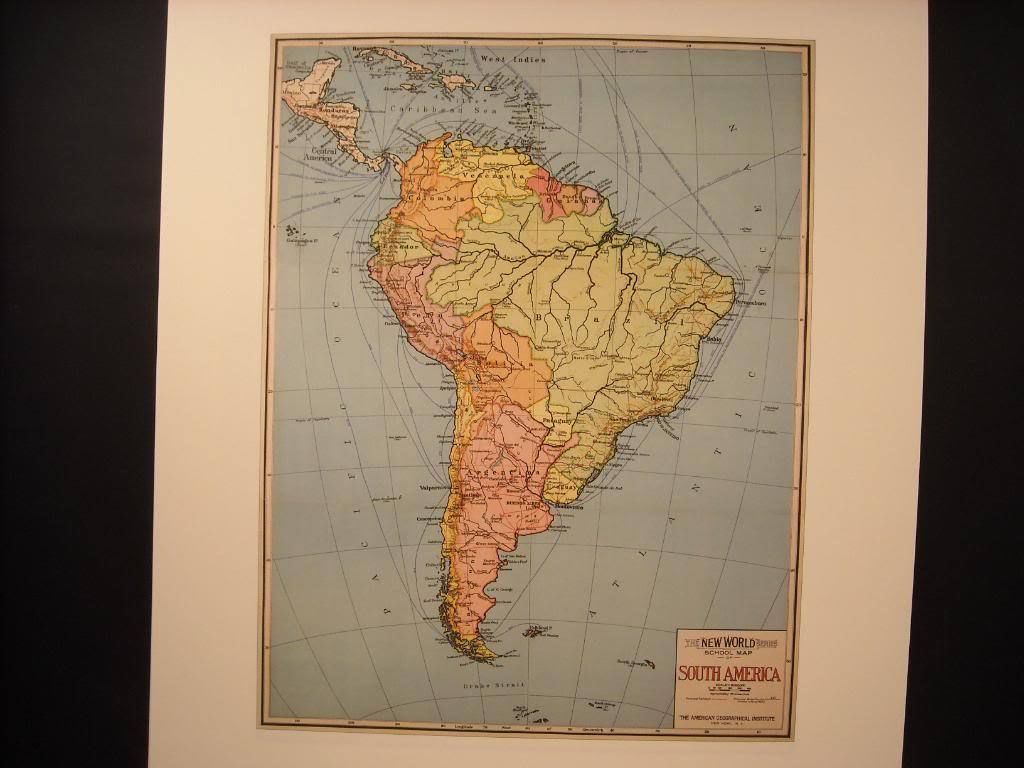 Vintage Map Color Reprint of South America School Map