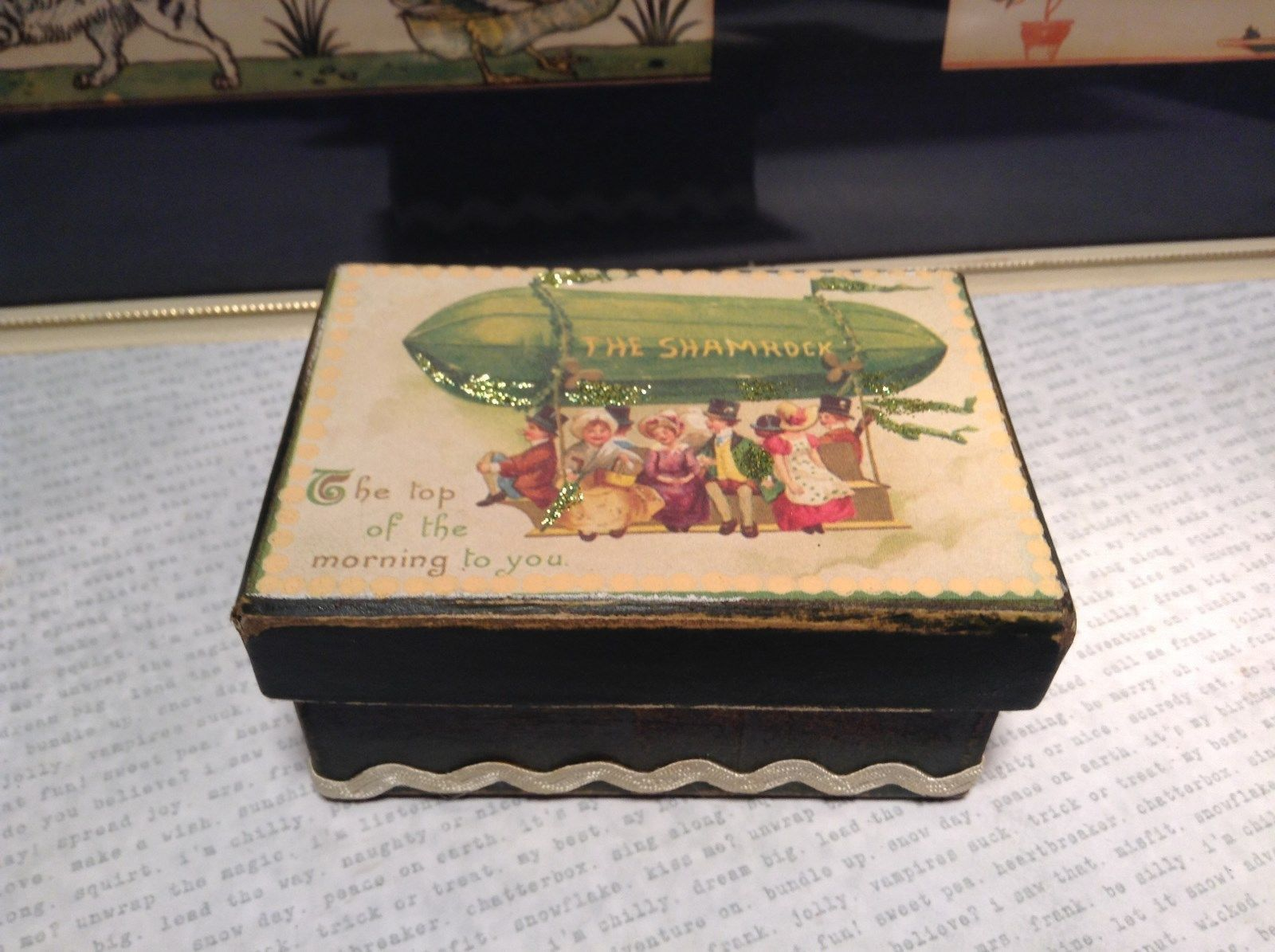 Primary image for Vintage Look St Patricks Day Trinket Box The Shamrock Balloon Green Paperboard