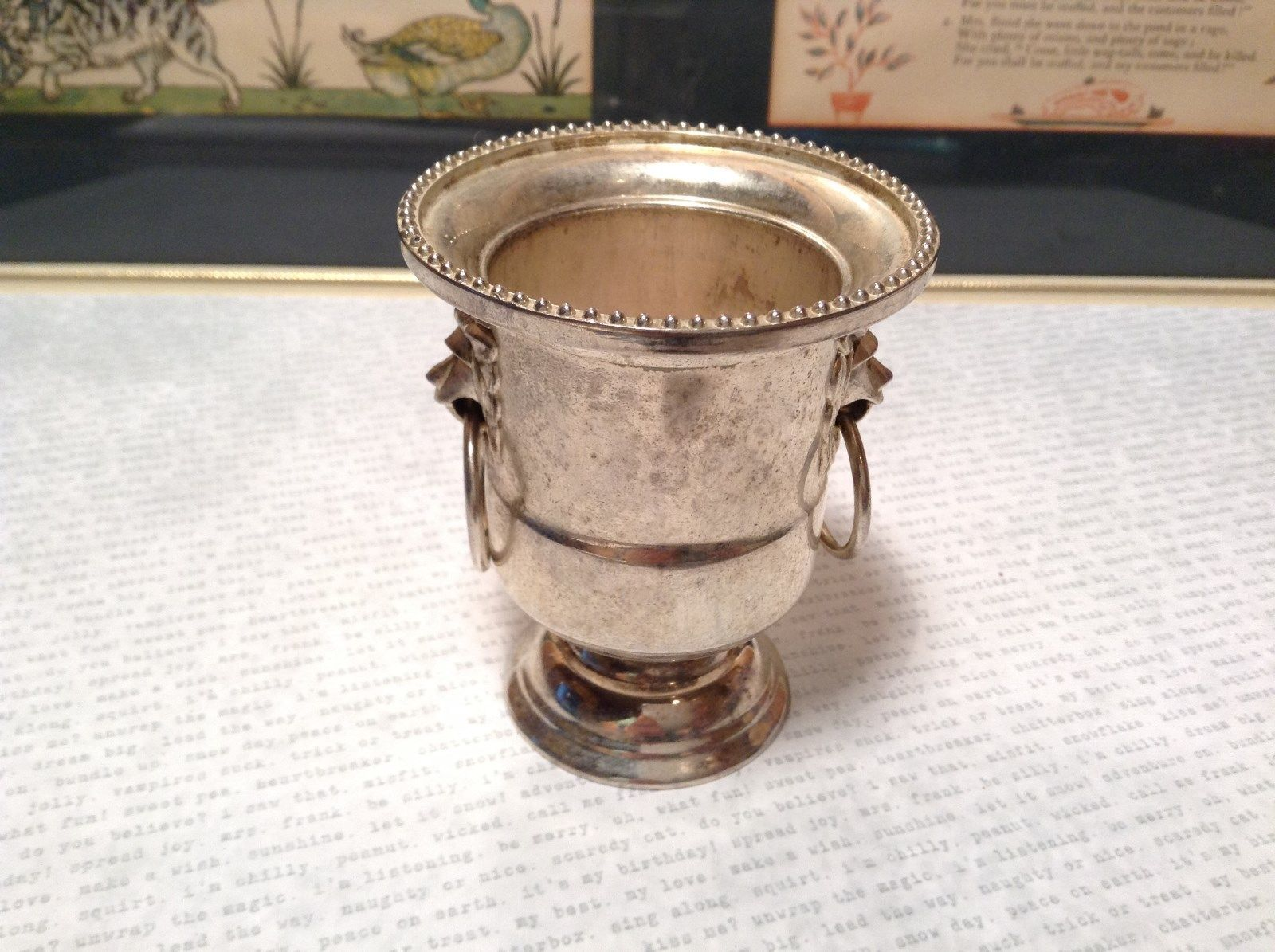 Primary image for Vintage Metal Goblet Like Candlestick Holder Lions and Rings on Sides