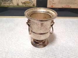Vintage Metal Goblet Like Candlestick Holder Lions and Rings on Sides - $39.99