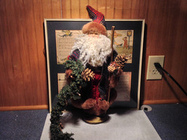 Vintage Look Tall Santa Claus with Plaid Shirt and Hat Doll Figurine Pine Cones
