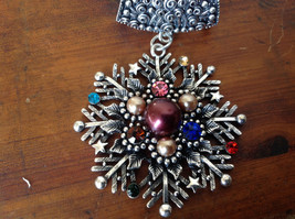Silver Tone Snowflake Inlaid with Multicolored beads and Crystals Scarf Pendant image 2