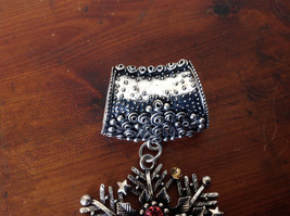 Silver Tone Snowflake Inlaid with Multicolored beads and Crystals Scarf Pendant image 3