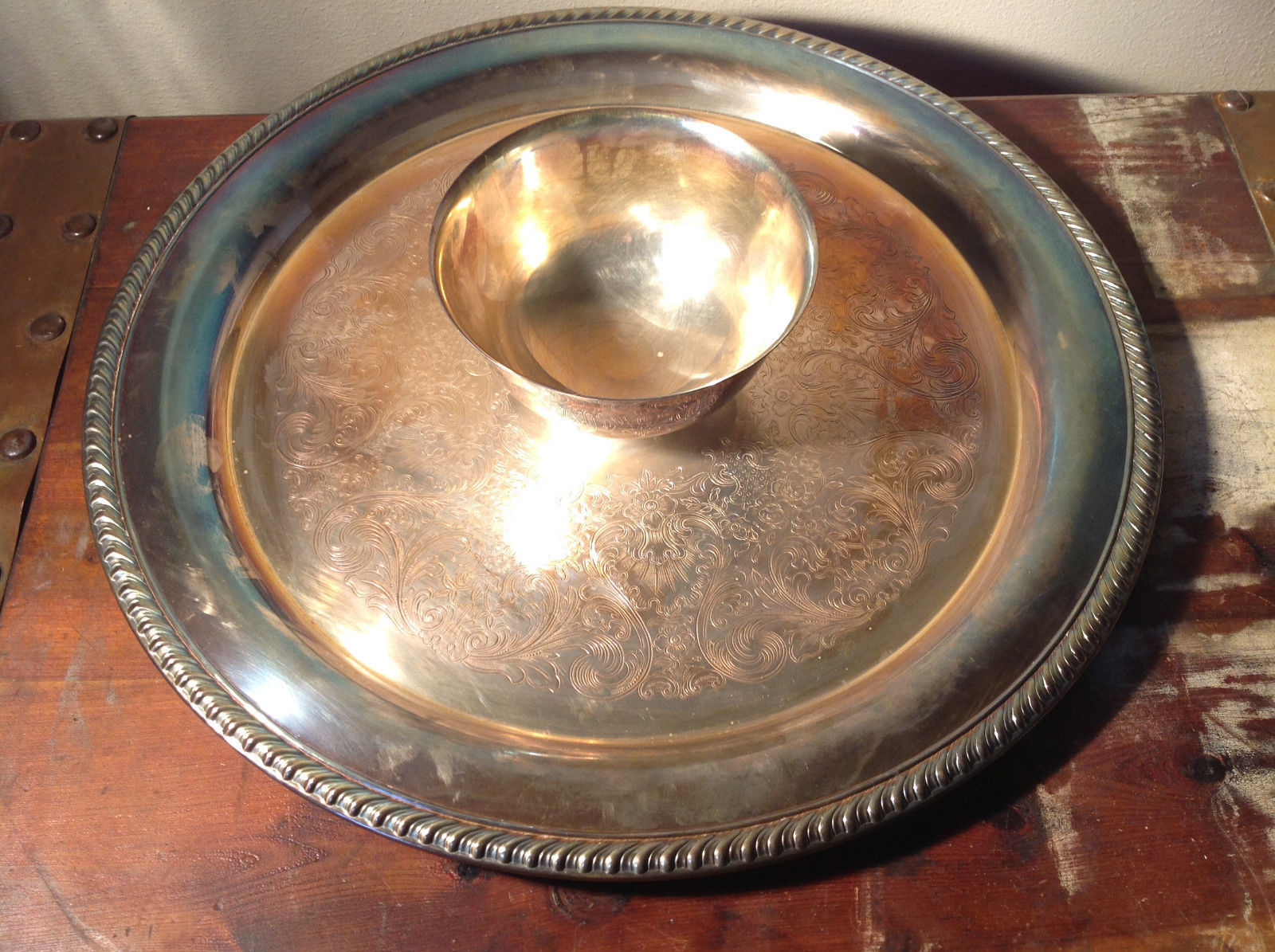 Vintage Metal Service Platter Tray with Small Bowl in Center Etched Metal Relief