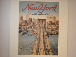 Vintage New York City Booklet Cover Showing The Brooklyn Bridge and Skyline