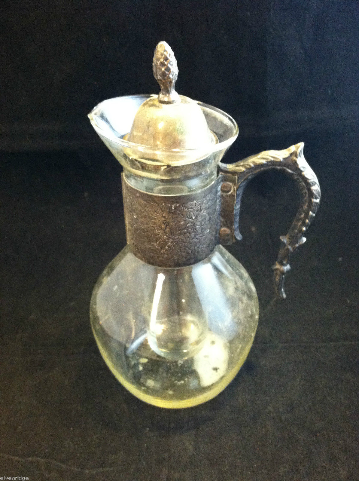 Vintage Metal and Glass Beverage Server with Ice Container in Middle