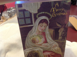 Vintage Nativity Mary and Jesus Merry Christmas w glitter box sign sitter