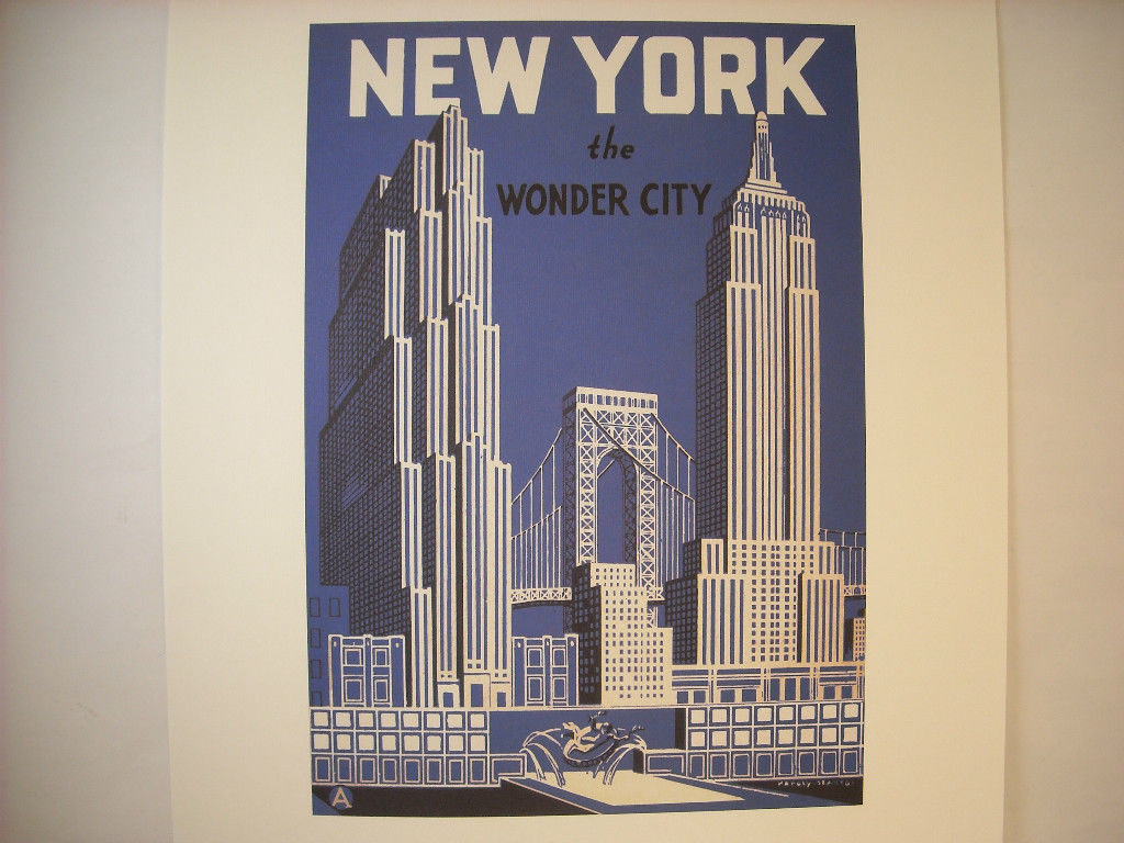 Vintage New York City Reproduction Showing Skyline Including Rockefeller Center