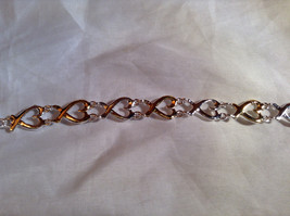 Silver and Gold Plated Connecting Hearts Bracelet Lobster Clasp Closure image 5