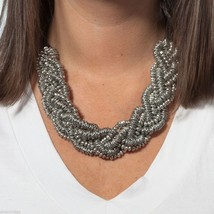 Silver bead cluster statement necklace image 2