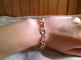Silver and Gold Plated Connecting Hearts Bracelet Lobster Clasp Closure image 4