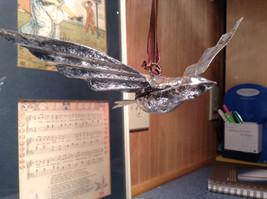 Silver Tone Vintage Look Bird Ornament image 5