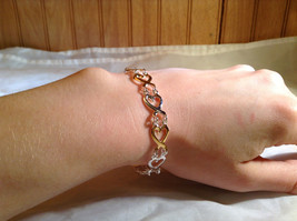 Silver and Gold Plated Connecting Hearts Bracelet Lobster Clasp Closure image 2