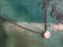 Silver solitaire CZ on black Chain Necklace Zina Kao Pearl accent close USA made image 3