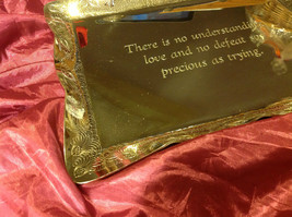 """Silver tone tray 10"""" L x 13""""W stainless steel engraved with quote about love image 3"""