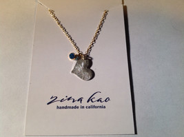 Silver with Gold Chain Flat Heart and Gem Necklace London Blue Topaz December image 2