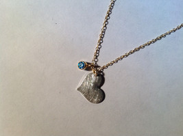 Silver with Gold Chain Flat Heart and Gem Necklace London Blue Topaz December image 4