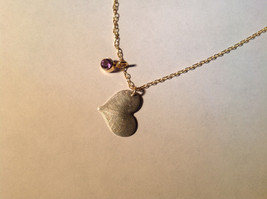 Silver with Gold Chain Flat Heart And Gem Handmade Necklace February Amethyst image 2