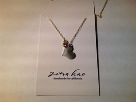 Silver with Gold Chain Flat Heart And Gem Handmade Necklace February Amethyst image 3