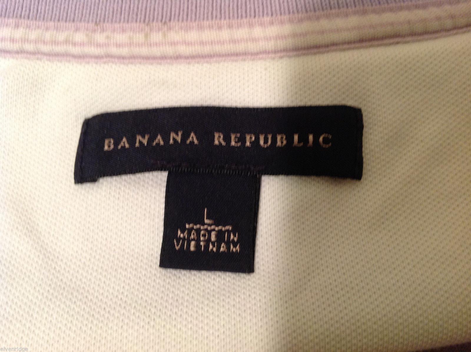 Banana Republic Mens Lavender Stretchable Cotton Polo Shirt with elephant Size L