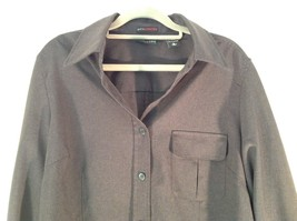 Size Large New York and Company Long Sleeve Button Up Charcoal Black Blouse image 2