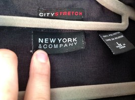 Size Large New York and Company Long Sleeve Button Up Charcoal Black Blouse image 4