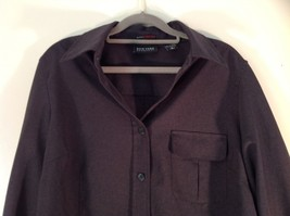 Size Large New York and Company Long Sleeve Button Up Charcoal Black Blouse image 5