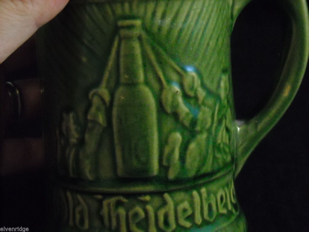 Vintage Old Heidelberg Beer Stein Mug set of 2 green stoneware pottery