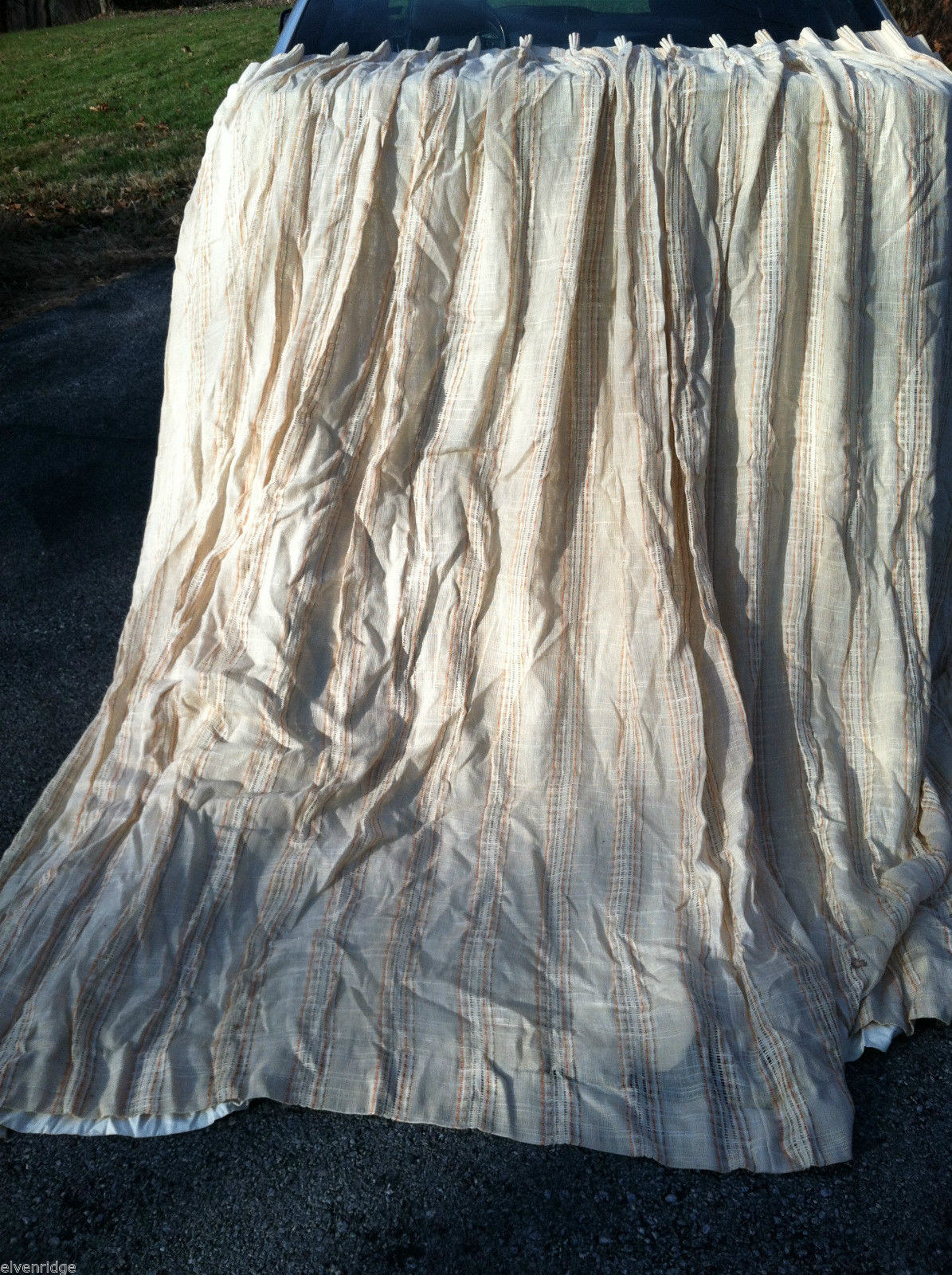Vintage Orange and Beige Striped Double Panel Drapes 92""