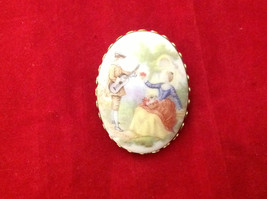 Vintage Oval Cameo Brooch Pin with Guitar Player Courting Woman