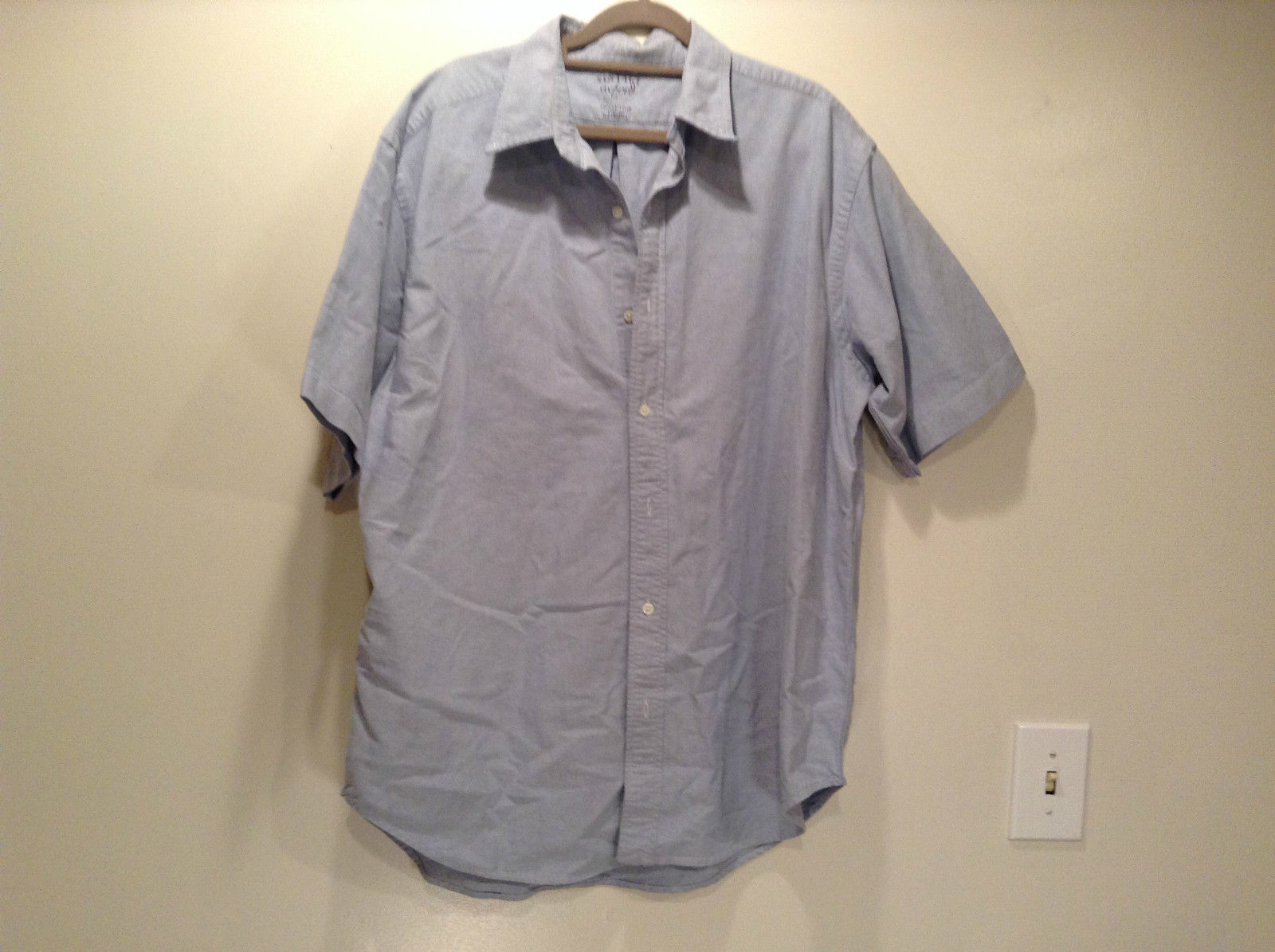 Vintage Oxford 100 Percent Cotton Size 42 to 44 Short Sleeve Light Blue Shirt