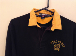 Size L Ralph Lauren Cotton Long Sleeve Black with Yellow Collar and Cuffs image 3