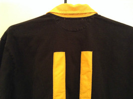 Size L Ralph Lauren Cotton Long Sleeve Black with Yellow Collar and Cuffs image 6