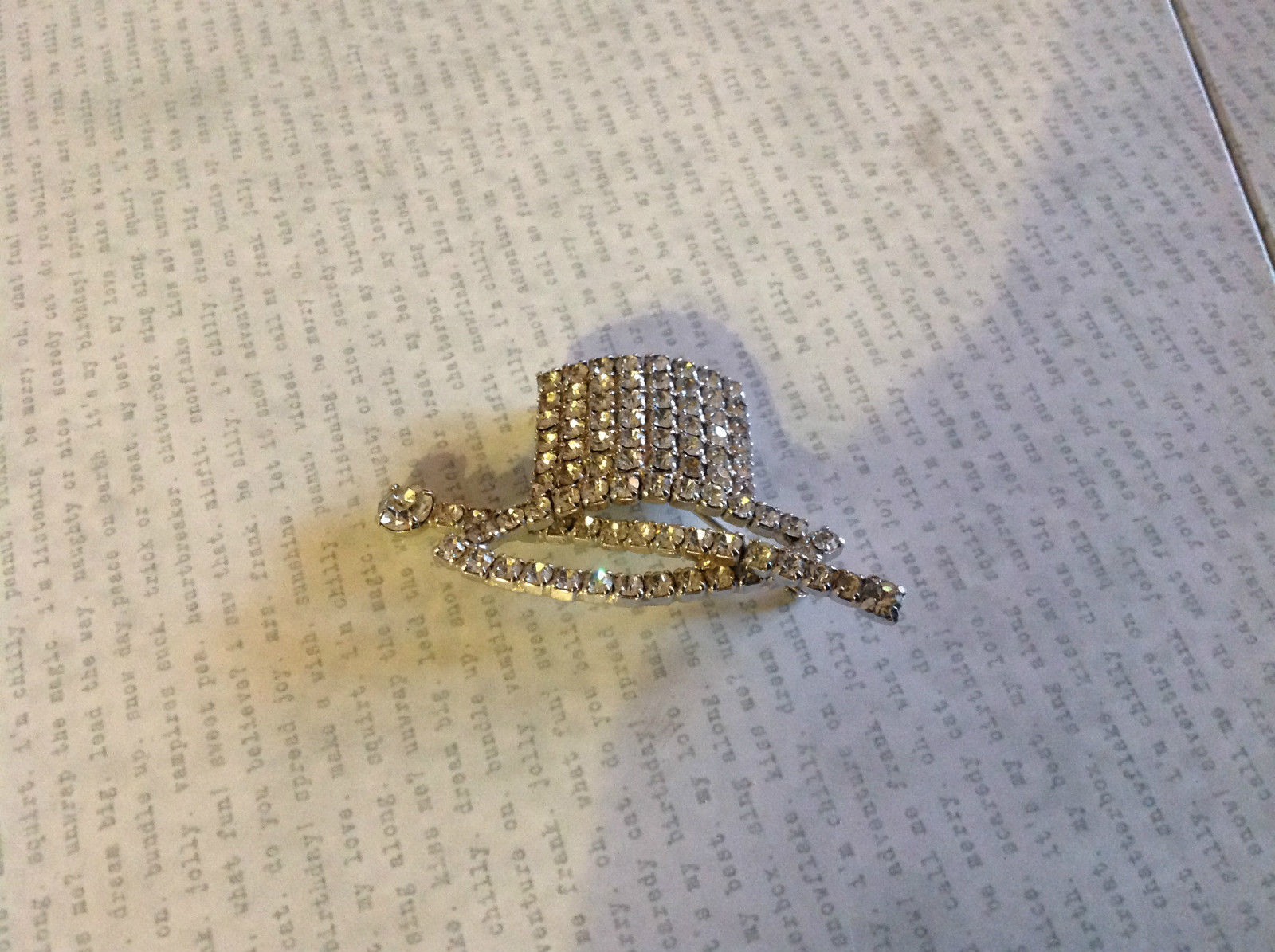 Vintage Top Hat and Cane Pin with Clear Rhinestones