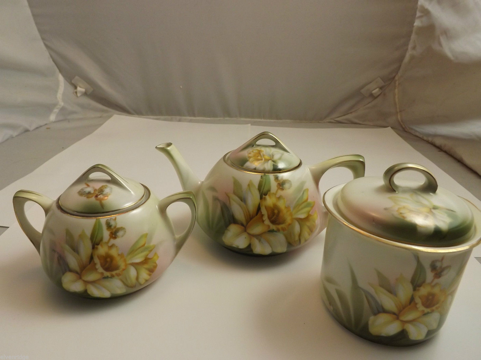 Vintage R.S. Germany Tea Set Daffodils Three Pieces