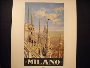Vintage Travel Poster Reprint Lithograph 1930 Milan, Italy Alessandro Pomi