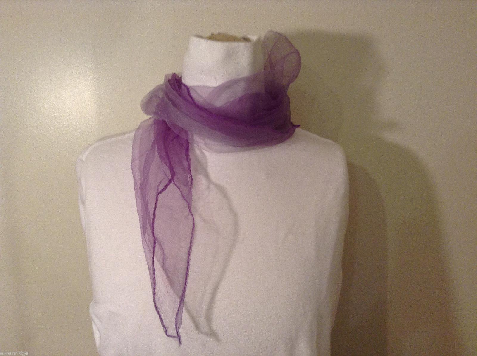 Vintage Purple Gauze Sheer Square Scarf for repair/repurposing 100% nylon