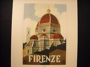 Vintage Reprint 1920 Lithograph of Florence Italy