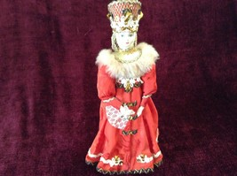 Vintage Russian Figurine Woman in Red Dress