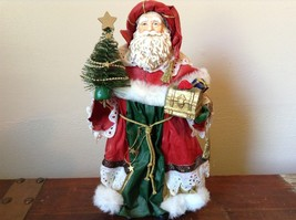 Vintage Santa Holding Chest Presents and Small Christmas Tree Red Cloak