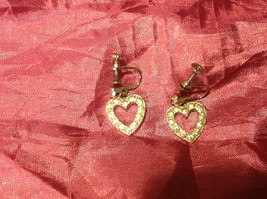 Vintage Silver Colored Scew-On Heart Earrings 2 Inches
