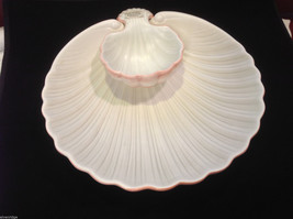 Vintage Sea shell made in Japan chip and dip platter perfect for summer parties