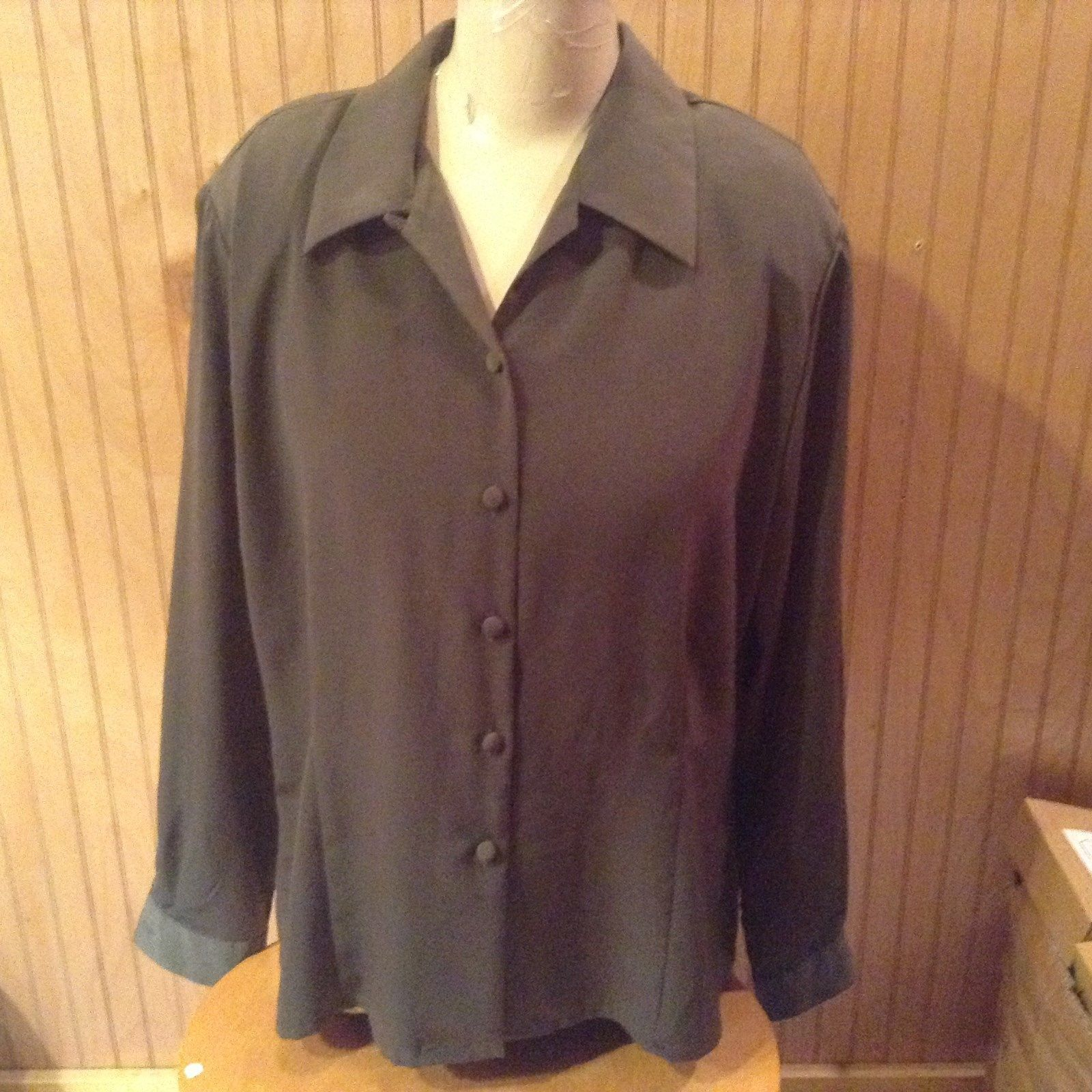 Vintage Style Dark Green Button Down Blouse Christie and Jill Size 16