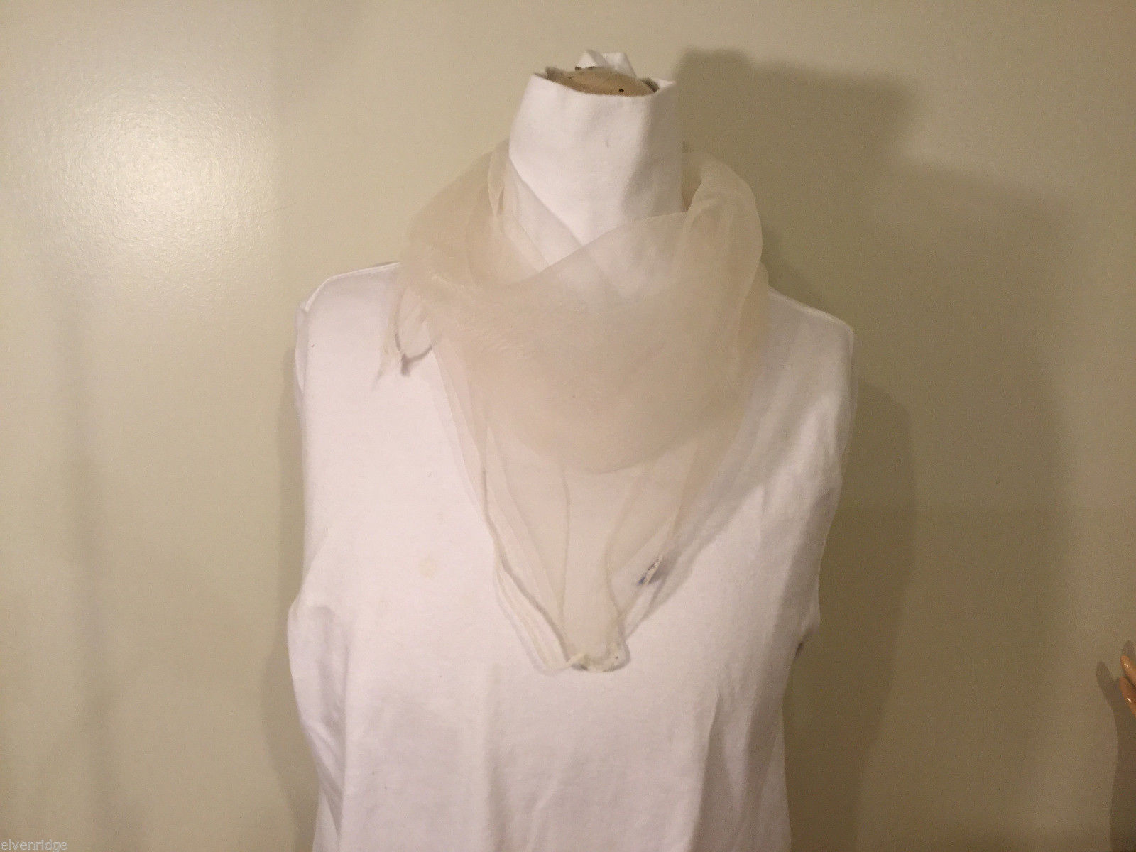 Vintage Square Lightweight White Sheer Scarf 100% Nylon