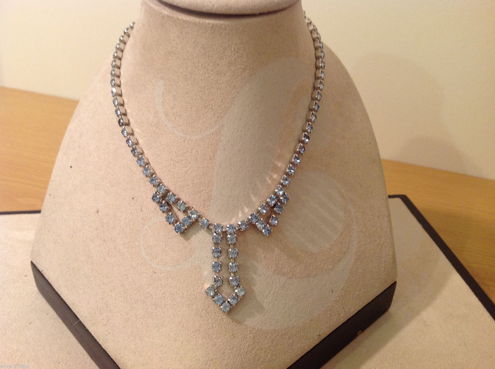Vintage Silver Tone Metal Light Blue Rhinestones Necklace Adjustable length