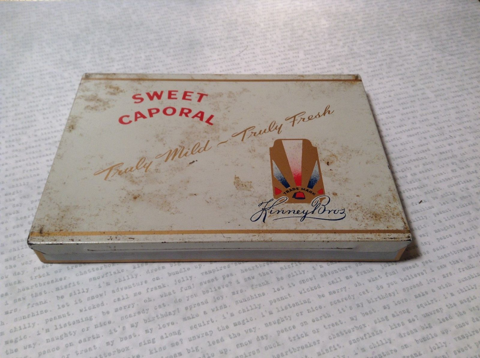 Vintage Sweet Caporal Cigarette Tin Case by Kinney Brothers