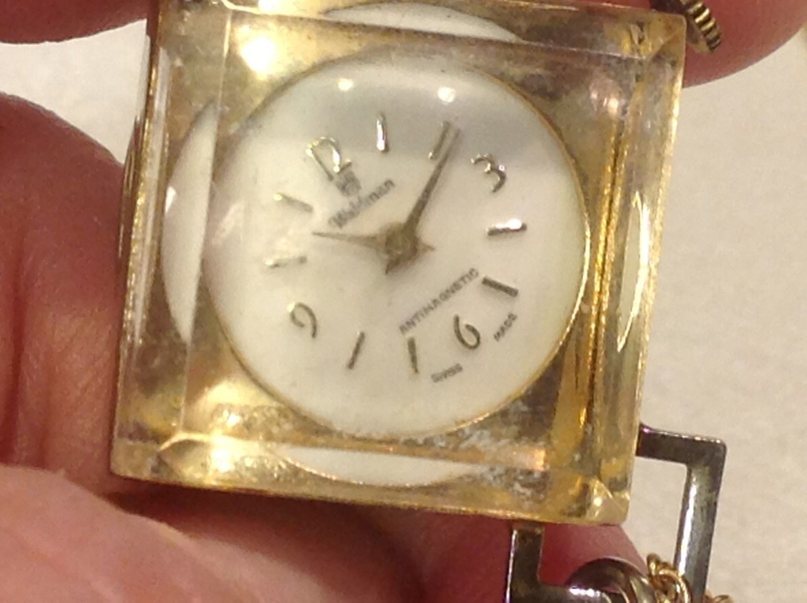 Vintage Swiss made Waldman pocket watch on chain in acrylic unique square case
