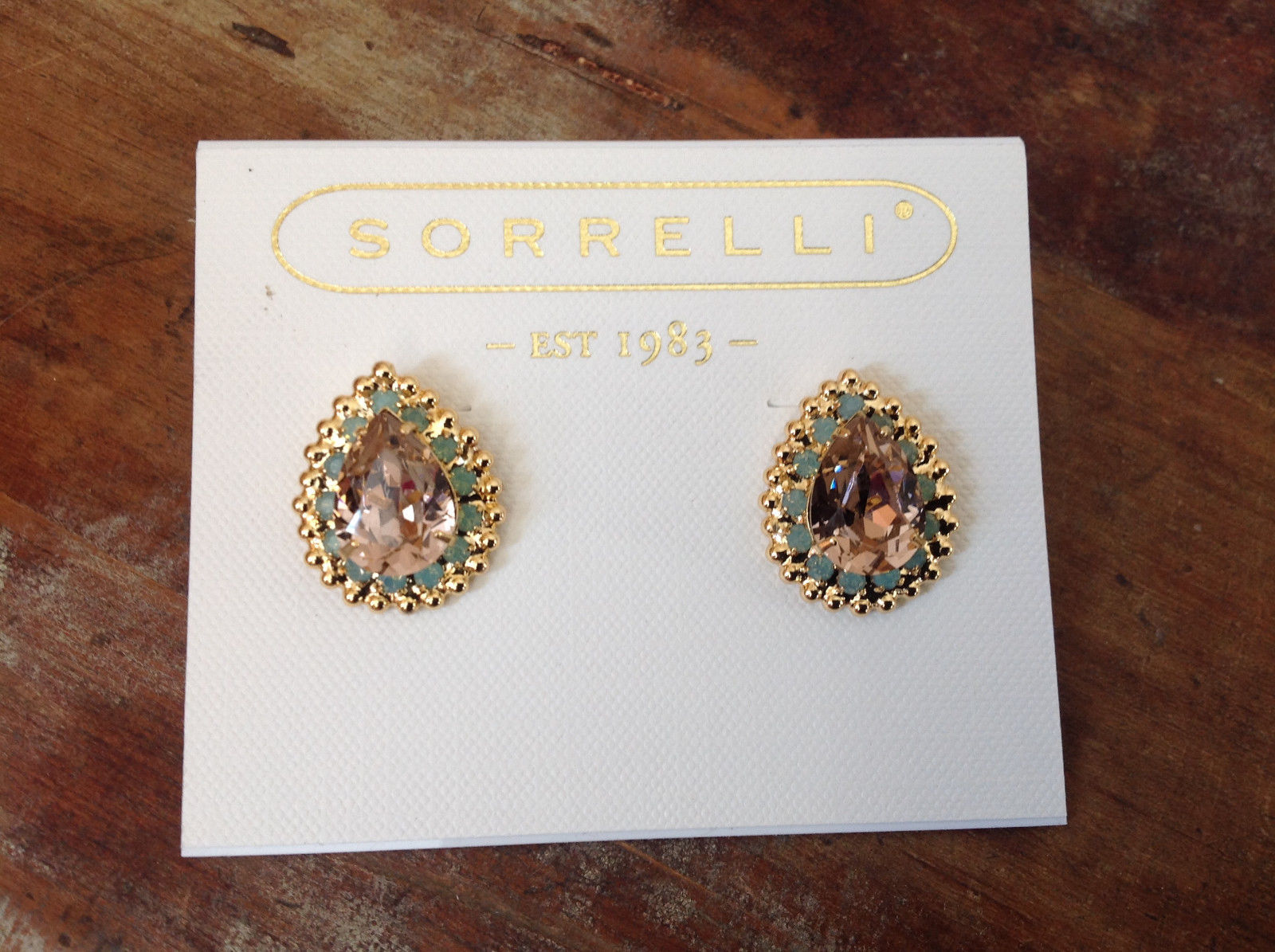 Vintage Style Sorrelli Gold Tone Peach Mint Crystal Drop Shape Stud Earrings